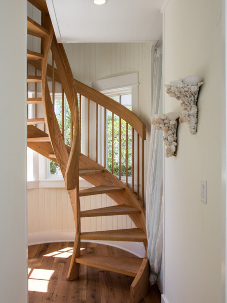 Exciting Florida Cottage Style Carriage House Interior Wooden Spiral Stairs